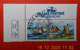 FRANCE 2020    SAINT-VAAST-LA-HOUGUE     Timbre  Neuf   Cachet   ROND  COIN DE FEUILLE - Used Stamps