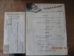 """MARSEILLE ETABts ROCCA,TASSY & DE ROUX """"VEGETALINE"""" 9 RUE ROUX DE BRIGNOLES FACTURE ET TRAITE DU 9 DECEMBRE 1933 - 1900 – 1949"""