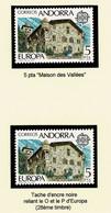 ANDORRA ANDORRE Europa 1978 Valeur 5 PTA Variété Tache Noire Dans EUROPA Au 28è Timbre De La Feuille + Normal ** SUP - Storia Postale
