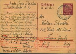 """1941, 15 Pfg. Ganzachenkarte Ab NÜRNBERG Nach New York, Absender Mit Zwangsname """"SARA"""" - Stamped Stationery"""