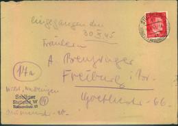 """1945, SPÄTE POST-ÜBERROLLER: Brief Ab """"STUTTGART 16.4.45""""  Handschr. Eingang 30.10.45"""" - Covers"""