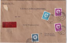 ALLEMAGNE 1939 LETTRE VALEUR DECLAREE DE HANN.MÜNDEN AVEC TIMBRES DE SERVICE - Dienstpost