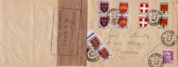 Paires 4F Anjou 2F Auvergne 1F Savoie 50c Guyenne 10c Bourgogne Paris 1949 Pr Genève Lettre Ouverte Par La Douane - 1941-66 Wappen