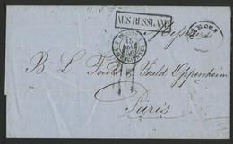 1856 RUSSIE - UKRAINE Lettre D'Odessa Pour Paris Avec Taxe Tampon 11. Voir Description - ...-1857 Prephilately