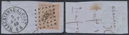 """émission 1865 - N°19 Sur Fragment Obl Pt 238 """"Marchienne-au-pont"""". Luxe ! - 1865-1866 Profiel Links"""