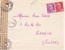 15F Et 10F Gandon Lettre Cheniers Creuse 1950 Pr Genève Ouverte Sur Réquisition De La Douane - 1945-54 Marianne (Gandon)