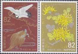 Japon Nippon 2019 9230/31 Empereur Aki Hito, Tortue, Grue, Chrysanthème - Royalties, Royals