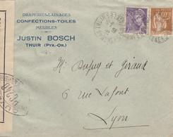 LETTRE.  15 6 1940. 1Fr. BANDE CENSURE. CONFECTIONS-TOILES JUSTIN BOSCH THUIR P.O. POUR LYON - 1921-1960: Periodo Moderno