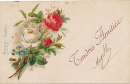 Roses Art Card Langage Roses Bonheur Envoi à Cellettes 41 Charpentier  Portets 1903 - Bloemen