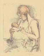 1928 Lithographie Originale De Rassenfosse Allaitement Têtée - Prenten & Gravure