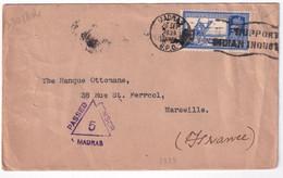 INDIA - 1939 - PERFIN PERFORE ! Sur ENVELOPPE De MADRAS Avec CENSURE ! => MARSEILLE - 1936-47 King George VI