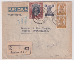 INDIA - 1946 - ENVELOPPE AIRMAIL RECOMMANDEE De BOMBAY => GENEVE (SUISSE) - 1936-47 King George VI