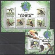 BC1256 2011 MOZAMBIQUE MOCAMBIQUE FAUNA DAS FLORESTAS BIRDS TUCANO 1SH+1BL MNH - Other