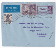 INDIA - 1945 - ENVELOPPE ENTIER AEROGRAMME De CALCUTTA AIR-A => PARIS - 1936-47 King George VI