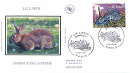 Enveloppe 1er Jour Animaux De La Ferme, Le Lapin, 2004 (YT 3662) - 2000-2009
