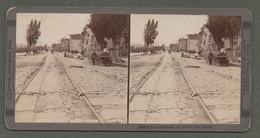 "02165 ""CALIFORNIA-SAN FRANCISCO-AFFECT OF EARTHQUAKE ON STREET CAR TRACKS-TERREMOTO 18 APRILE 1906"" STEREOSCOPICA ORIG. - Stereoscopische Kaarten"