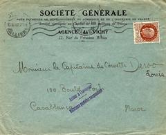 1942 - Enveloppe De Vichy  Pour Casablanca ( Maroc ) Avec Retour à L'envoyeur / Relations Postales Suspendues - Guerra De 1939-45