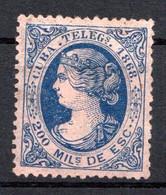 CUBA - (Occupation Espagnole) - 1868 - Télégraphe - N° 1 - 200 M. Bleu S. Rose - (Isabelle II) - Telegraphenmarken