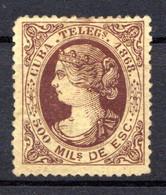 CUBA - (Occupation Espagnole) - 1868 - Télégraphe - N° 2 - 500 M. Brun S. Jaune - (Isabelle II) - Telegraphenmarken