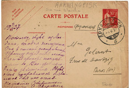 CTN64 - FRANCE EP CP PAIX 90c PARTIE REPONSE OBL. ARKHANGELSK 4/6/1937 - Standard Postcards & Stamped On Demand (before 1995)
