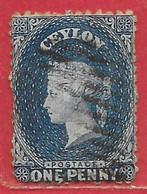 Ceylan N°26 1p Bleu (sans Filigrane) 1862 O - Ceylon (...-1947)