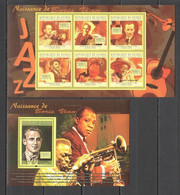 BC402 2010 GUINEE GUINEA MUSIC JAZZ FAMOUS PEOPLE BORIS VIAN 1KB+1BL MNH - Music