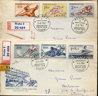 61147 Ceskoslovensko,  2 Fdc Circuled 1959,  Differents Sports,  Hockey On Ice, Rudern, Aviron - Hockey (Ice)