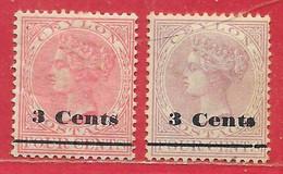 Ceylan N°122 & 123 3c Sur 2c Rose & Lilas-rose (filigrane CA) 1888-92 * & (*) - Ceylon (...-1947)