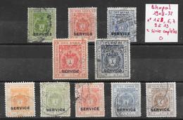 Etats Princiers De L'Inde - Bhopal Service N°1 à/to 3, 6, 7, 9 à/to 13 1908-32 O - Bhopal