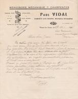 1945 VERNET-les-BAINS - Menuiserie Mécanique - Charpentes - Paul VIDAL - Historische Documenten