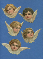 Très Bel Ensemble 5 Chromos Decoupis Tete Ange Angelot 9 à 14 Cm Envergure - Angels