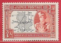 Etats Princiers De L'Inde - Jaipur N°53 Carte 0,75a Brun-rouge & Noir 1947 ** - Jaipur