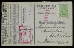 Sterstempel Relais Linth 11/12/1919 (leeg Datummidden) (noodstempel / Fortune) Op Kaart Naar Aertselaer - Postmarks With Stars