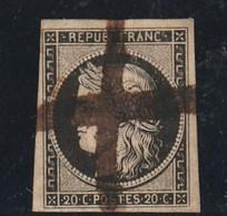 France Numério 3 A Oblitération Plume - 1849-1850 Cérès