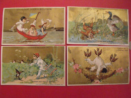 4 Images Chromo Chocolat Guérin-Boutron. Pierrots. Vers 1875. Lot 719. Vallet Minot Comme Liebig - Guerin Boutron