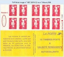 FRANCE - Carnet Numéro 741XX-1 - TVP Briat Rouge - YT 2874 C2 / Maury 506 - Uso Corrente