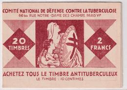 1927 - CARNET COMPLET ! VIGNETTES CONTRE LA TUBERCULOSE **MNH - PUB FLY-TOX / BROSSE à DENTS GIBBS / MAISONS ROLLAND - Tegen Tuberculose