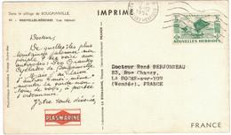 CARTE PUBLICITAIRE NOUVELLES HÉBRIDES LABORATOIRE PHARMACEUTIQUE PLASMARINE CACHET Et AFFRANCHISSEMENT À VOIR 1954 - Non Classificati