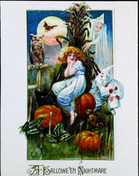 ► HALLOWEEN - Reproduction Poster Vintage (Sorcière Citrouille Lune Hibou Chat Witch Pumpkin Moon Owl Cat) - Halloween