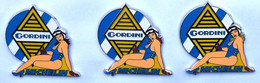 SERIE DE 3 PINS PIN'S PIN-UP RENAULT GORDINI, MICHELIN,45 Mm 3 COULEURS CHEVEUX - Renault
