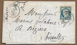 CHAGNY : 1876 :  Lettre Avec Cachet à Date Type 17 Sur Cérès 25c Bleu   ( Saône Et Loire ) : - 1849-1876: Periodo Classico