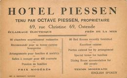 BELGIQUE HOTEL PIESSEN 69 RUE CHRISTINE OSTENDE - Oostende