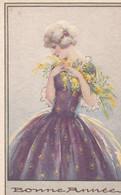 Edition Degami 3096  - Jolie Jeune Femme Blonde, Fleurs , Bonne Année (lot Pat 133) - 1900-1949