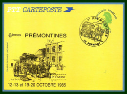 Entier Cp Repiqué PREMONT 1985 BT Bureau Temporaire 6é Prémontines TB Cheval Chevaux Diligence Horse 02 Aisne - Overprinter Postcards (before 1995)