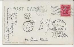 Dc22 USA 1906 PPC To MALTA With  Malta Postman Number 10 - Malte