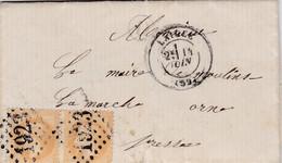 LAC De Ecorcei (61) Pour Moulins-la-Marche (61) - 12 Juin 1870 - Timbre YT28 + Ob. Los. GC1923 - CAD 16 & 17 + Amb. + D - 1849-1876: Periodo Classico