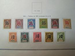 MAYOTTE - 1912 - Timbres De 1892 Surcharges - Série Complète 11 Valeurs - Neufs * Trace De Charnière - Ungebraucht