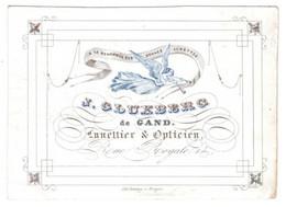 A La Renommée Des Bonnes Lunettes J.Cluxberg  De Gand Lunnettier & Opticien  Rue Royale Litho Daveluy  14x10cm - Porseleinkaarten