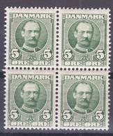 Denmark 1907 Mi#54 Mint Hinged  Piece Of 4 - Unused Stamps
