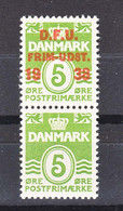 Denmark 1938 Mi#243 Mint Never Hinged Pair With And Without Overprint - Gebraucht